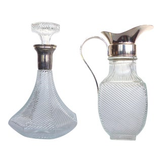 Ribbed Glass Decanter & Pitcher - A Pair