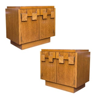 Lane Brutalist Oak End Tables - A Pair