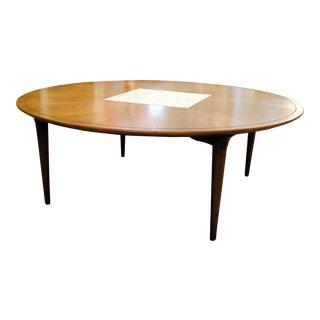 Mid-Century Round Walnut Coffee Table, 1950s