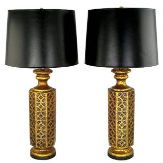 Pair of Moroccan-Style Gilt Arabesques Table Lamps