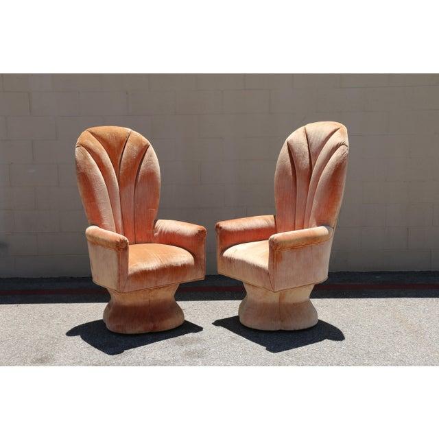 Velvet Highback Swivel Chairs - A Pair - Image 2 of 10