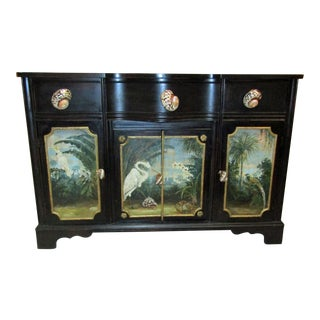 Unique Hand Painted Tropical Motif Sideboard