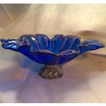 Image of Murano Iridescent Cobalt & Silver Bowl
