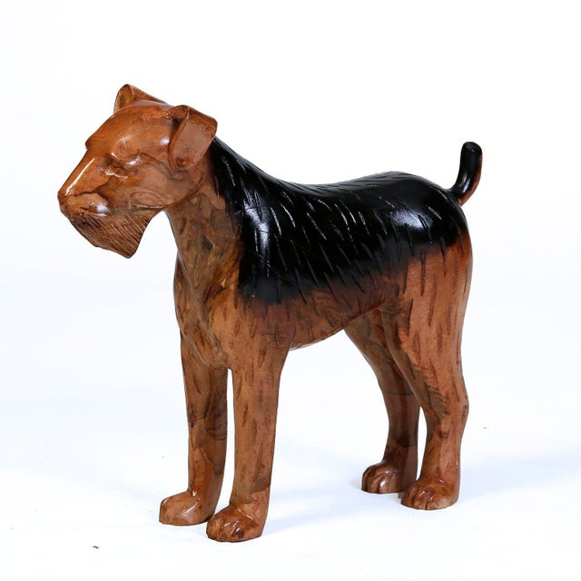 Carved Solid Wood Airedale Terrier - Image 2 of 2