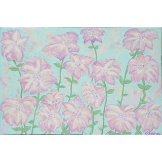 """Suga Lane - """"Pink Fireworks"""" Original Acrylic Floral Painting"""