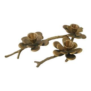 Brass Flower Taper Candle Holder