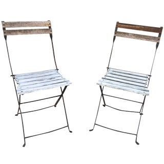 French Folding Metal Bistro Chairs - A Pair