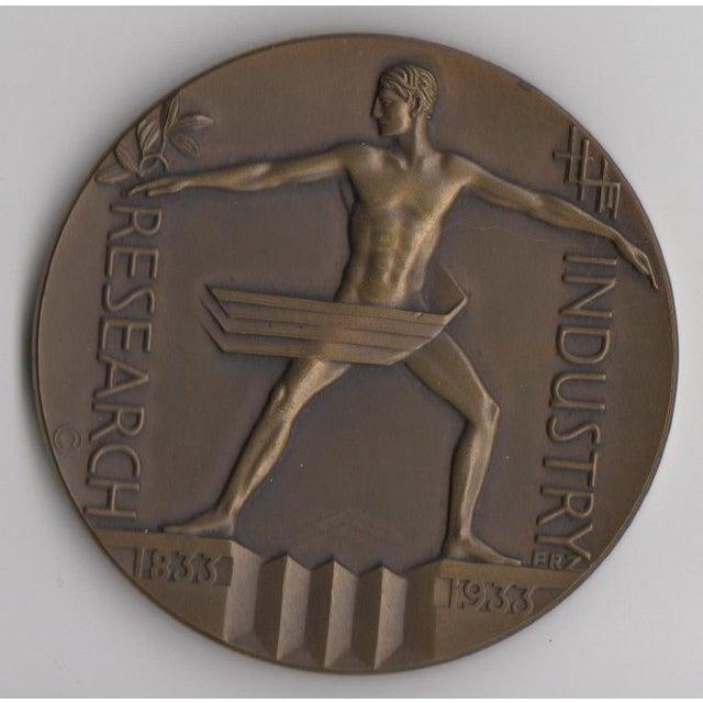 1933 Art Deco Chicago Expo Bronze Sculpture Medallion - Image 2 of 3
