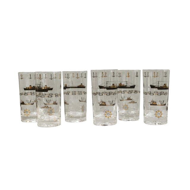 Nautical Gold Cocktail Glasses - Set of 6 - Image 1 of 4