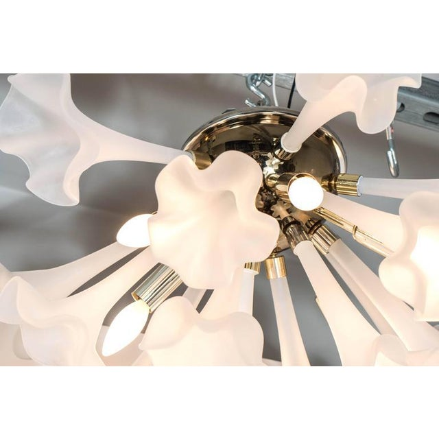 Handblown Flush Mount Murano Chandelier in Brass with Frosted Glass Flowers - Image 3 of 9
