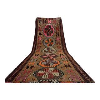 Turkish Hand Woven Kilim Large Runner Rug - 6′4″ × 18′4″