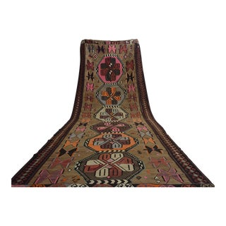 Turkish Hand Woven Kilim Large Runner Rug - 6′4″ × 18′4″
