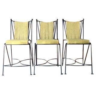 Wrought Iron & Rope Seat Bar Stools - Set of 3