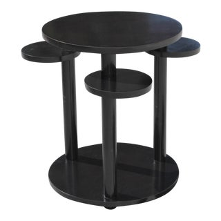 Beautiful French Art Deco Dark Mahogany Two-Tier Side Table Or Accent Table Circa 1940s.
