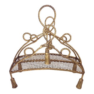 Hollywood Regency Gold Rope & Tassel Magazine Rack