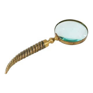 Vintage Magnifying Glass with Carved Wood Handle