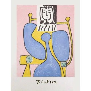 'Femme Assise a La Robe Bleue' Pablo Picasso Lithograph