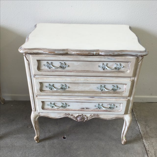 shabby chic style nightstands pair chairish. Black Bedroom Furniture Sets. Home Design Ideas