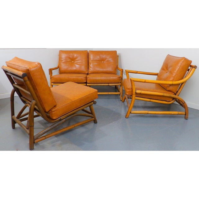 Vintage Naugahyde Mid-Century Modern Bamboo & Brown Vinyl Sofa Set - 3 Pcs. - Image 9 of 11