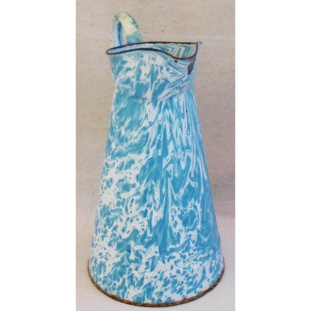 Blue & White French Enameled Porcelain Pitcher - Image 3 of 7
