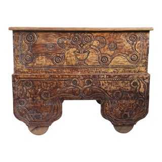 Antique Balinese Carved Storage Trunk
