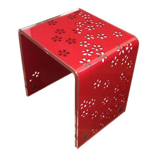 Red Flower Inlay Acrylic Table