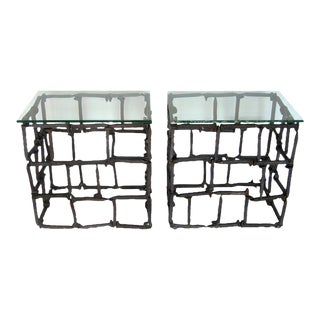 Pair of Rail Road Spike Side Tables with Glass Tops