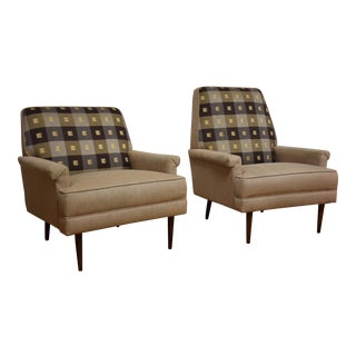 His & Her Beige Lounge Chairs - A Pair