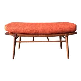 Mid-Century Modern Orange Tweed Bench