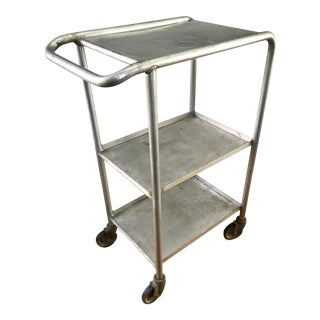 Mid Century Industrial Metal Bar / Media Cart on Wheels
