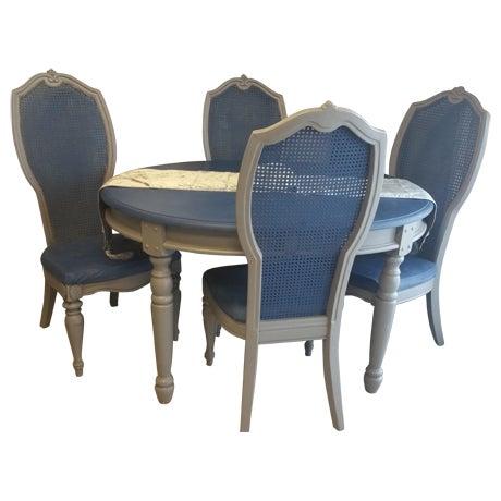 Image of Shabby Chic Blue & Gray Dining Set