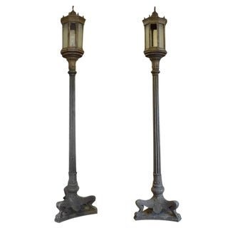 Pair of American Cast Iron Torchiere Lights
