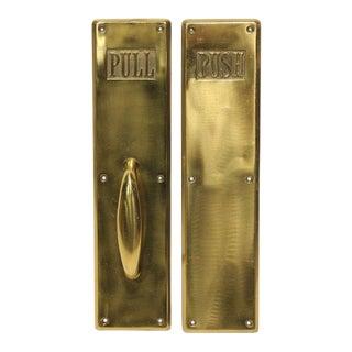 1930's Solid Brass Push & Pull Door SignsPlaques by Corbin