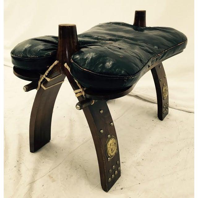 Vintage Black Leather Camel Saddle Stool Chairish