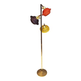 Mid Century Modern Gold Pole Floor Lamp with Acrylic Shades