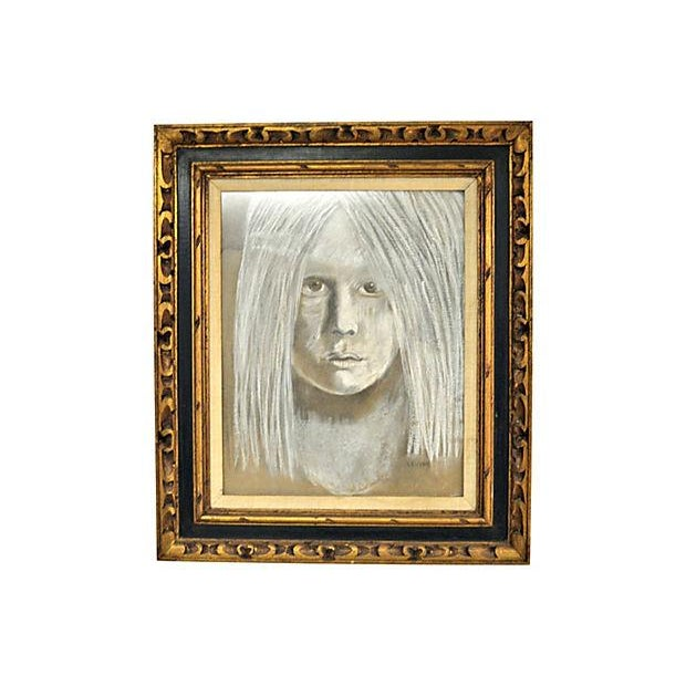 Levine Hyperrealistic Chalk Drawing Portrait - Image 1 of 4