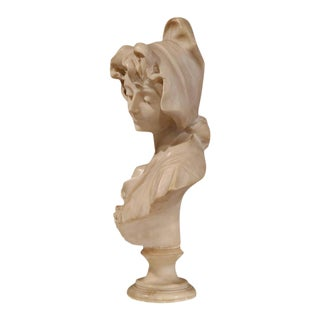 French Carved Marble Bust of a Young Beauty