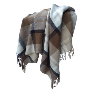 Vintage Brown Plaid Wool Throw