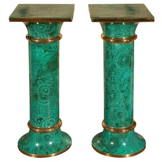 Pair Italian Faux Malachite Pedestal - Columns