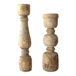 Large Reclaimed Wood Baluster Candle Holders- A Pair