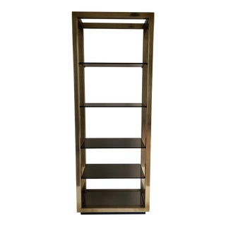 Mastercraft Brass and Smoked Glass Etagere