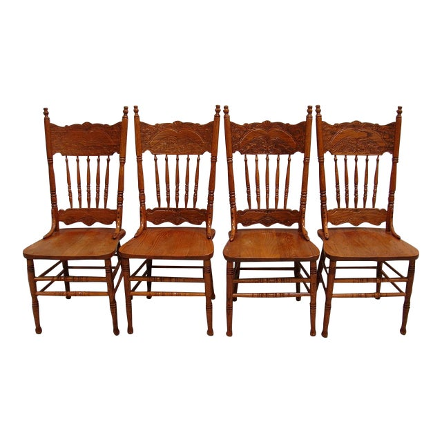 Image of French Country Oak Dining Kitchen Chair Set