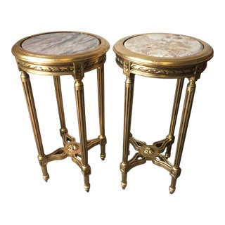 Neoclassical Style Gilt Side Tables - A Pair