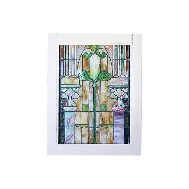 Antique Architectural Stained Leaded Glass Window - Image 5 of 5