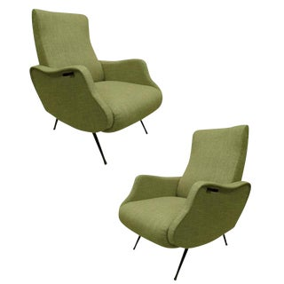 Exquisite Pair of Italian 1950s Lounge Chairs in the Style of Marco Zanuso