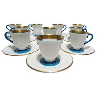 Czech Demitasse Turquoise & Gold Cups - Set of 10