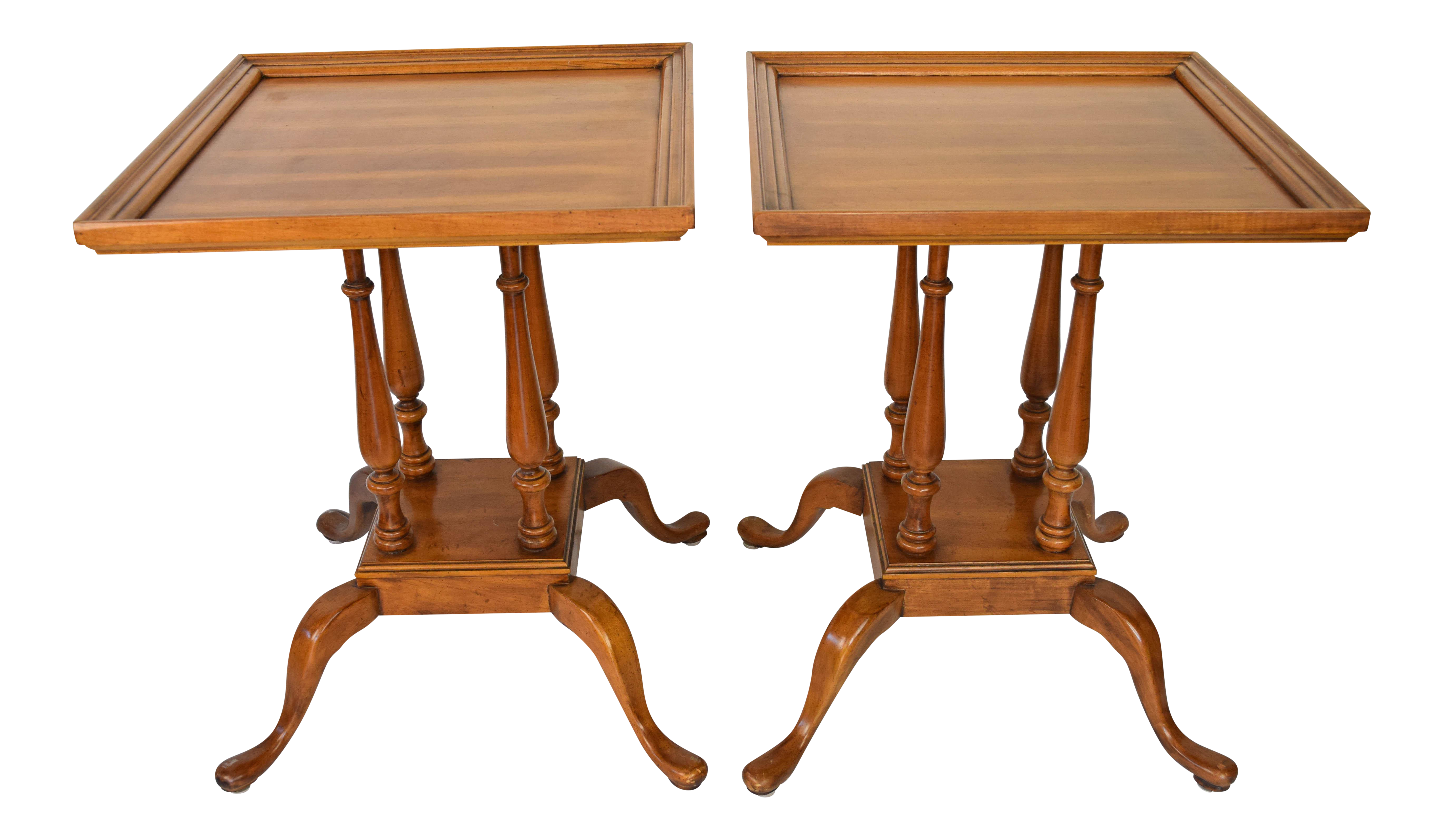 Queen Anne Square Side Tables   A Pair