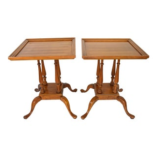 Queen Anne Square Side Tables - A Pair