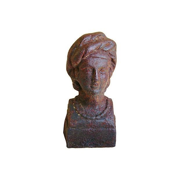 Image of Antique 19th C. French Cast Iron Bust Fragment