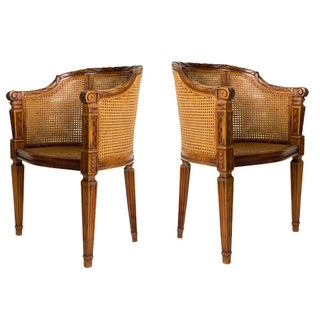 Pair of Petit Directorie Cane Arm Chairs